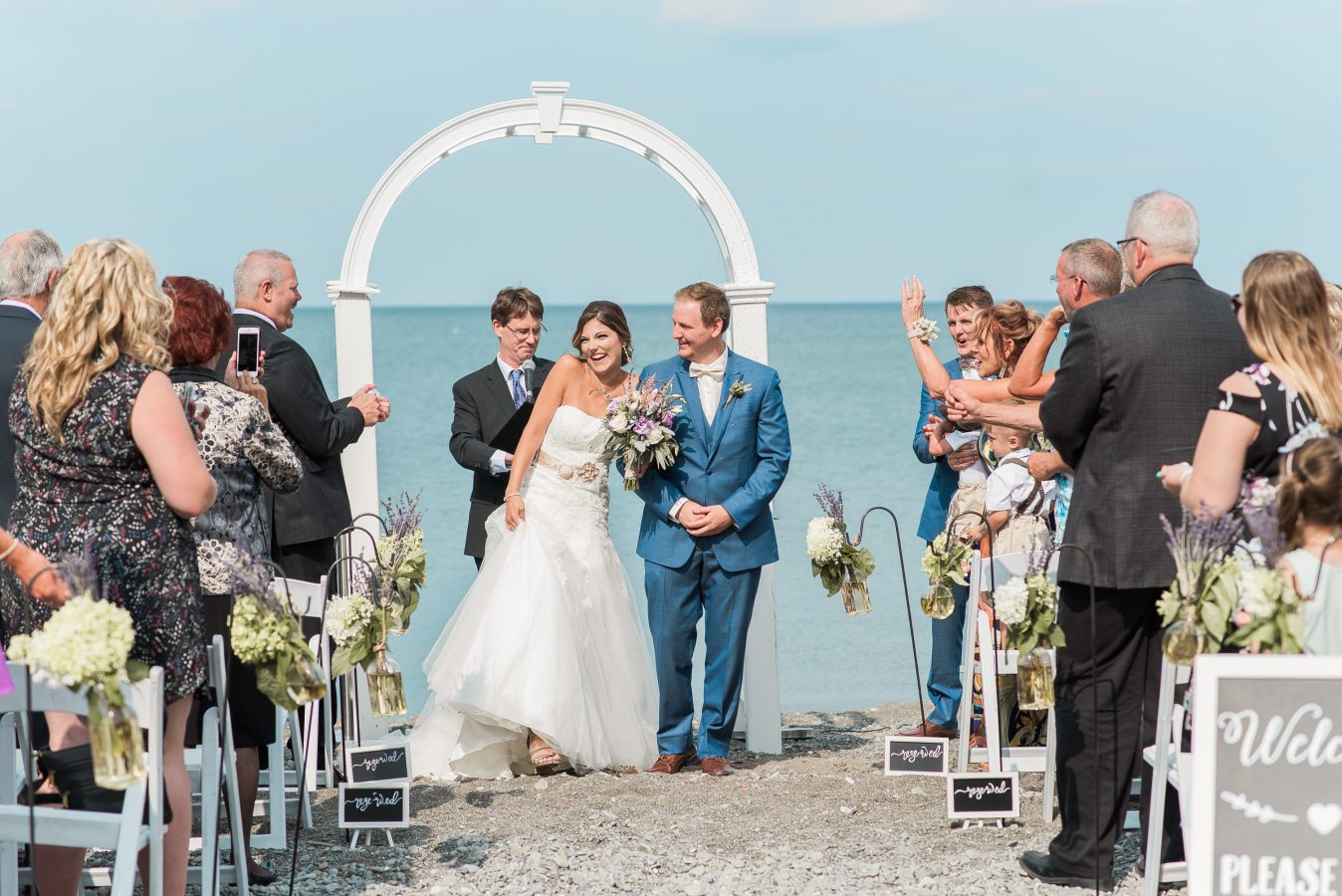 bride and groom say i do at lakeview burlington ceremony