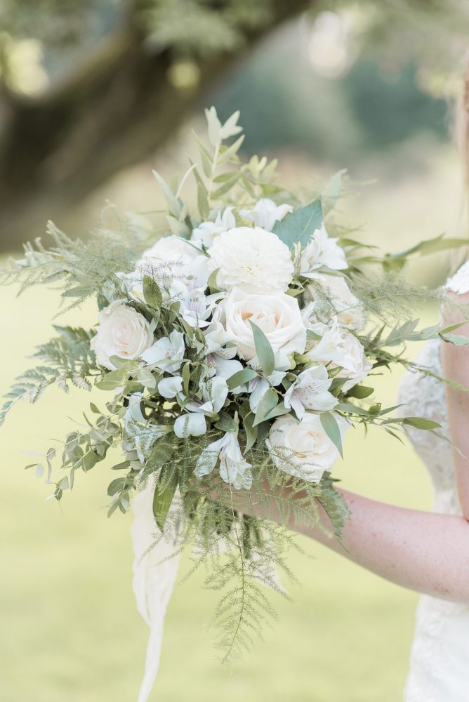 whimsical white bridal bouquet
