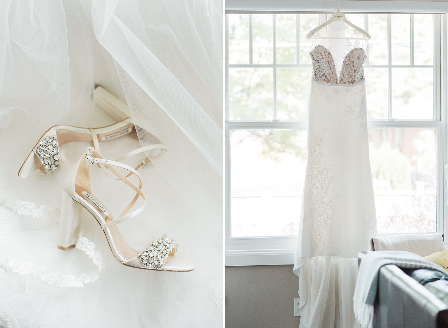 bride dress hanging in window and detail of badgley mischka shoes
