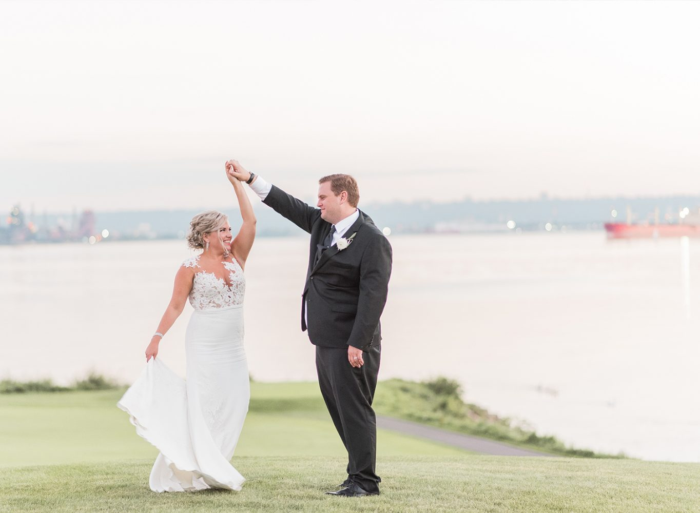 bride and groom dancing at burlington golf club