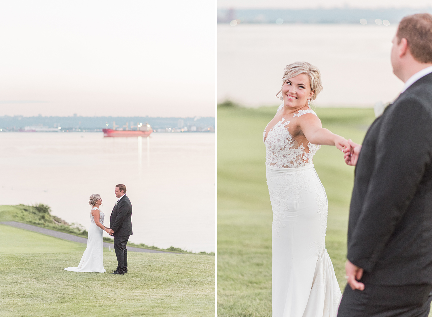 bride and groom dancing in golden light at burlington golf club