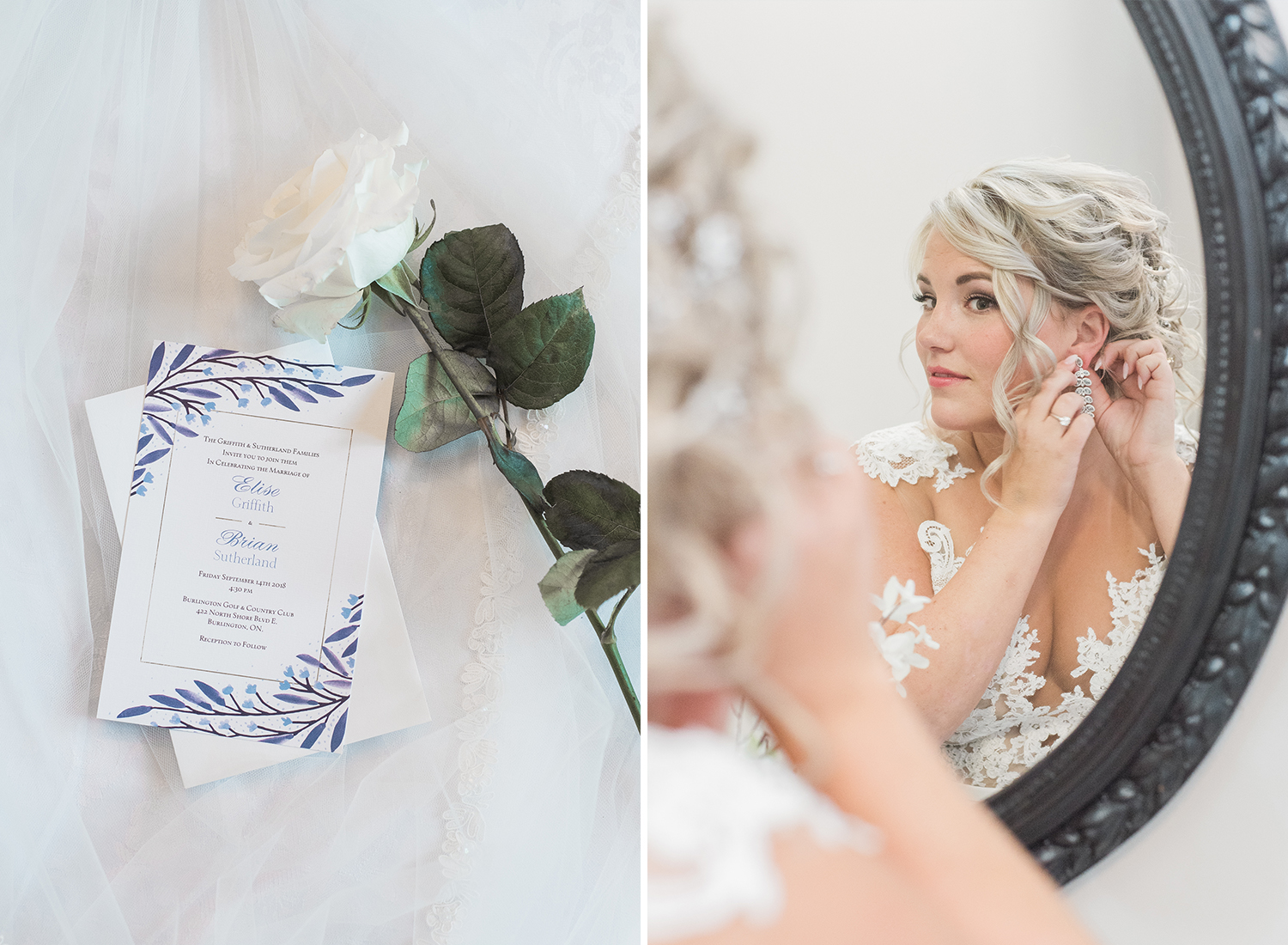 wedding invitation detail and bride putting on earrings in mirror