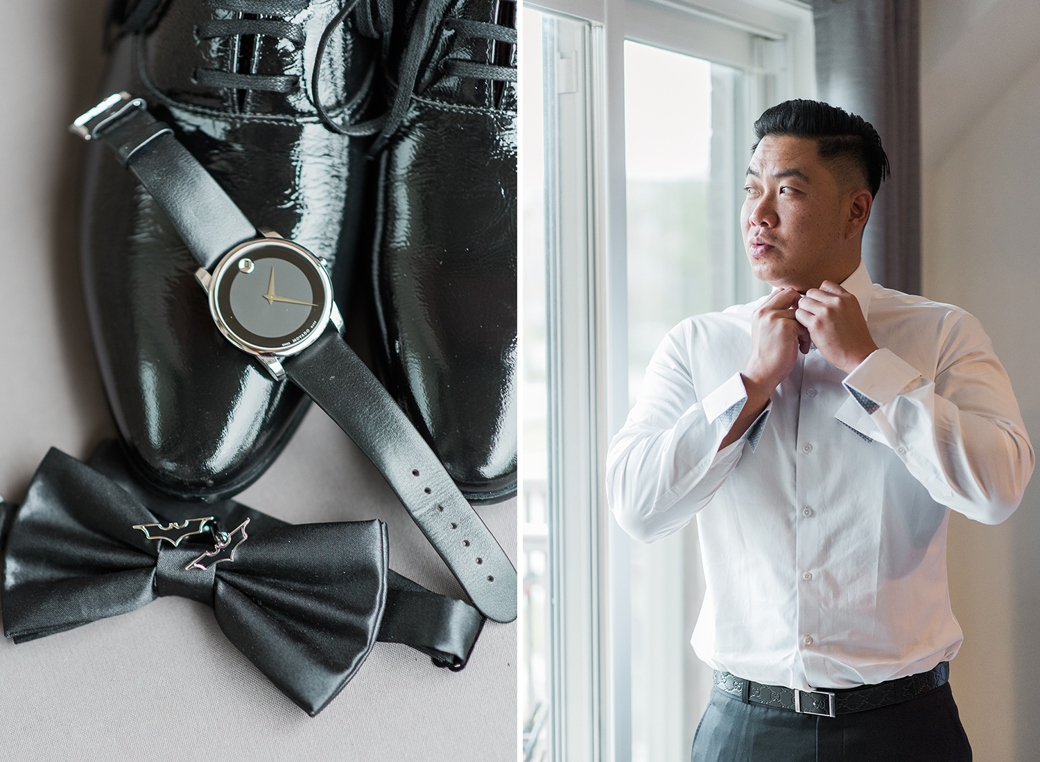 groom getting ready with movado watch