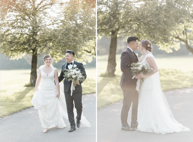 bride and groom walking in golden hour light