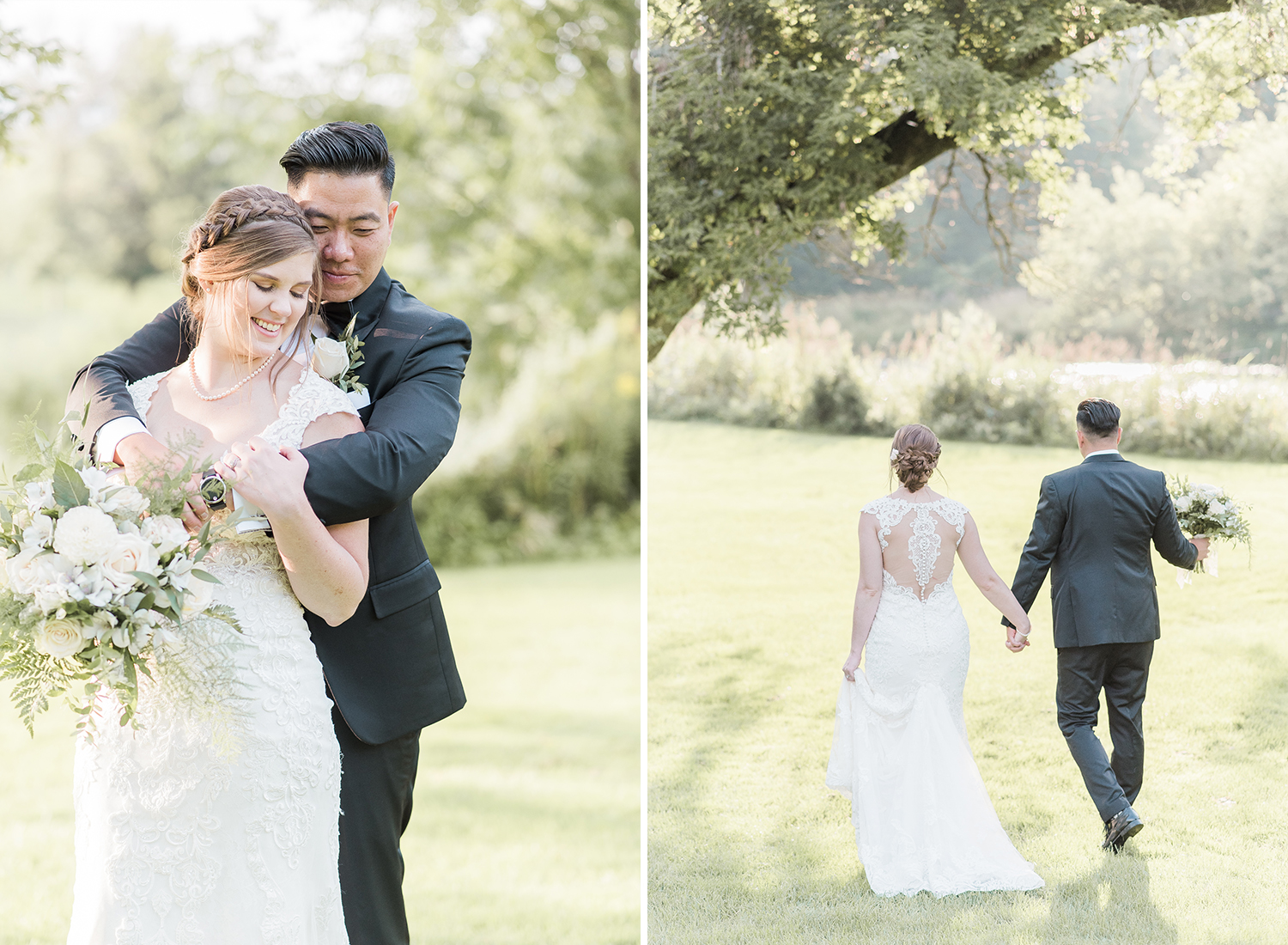 bride and groom portraits in beautiful golden light