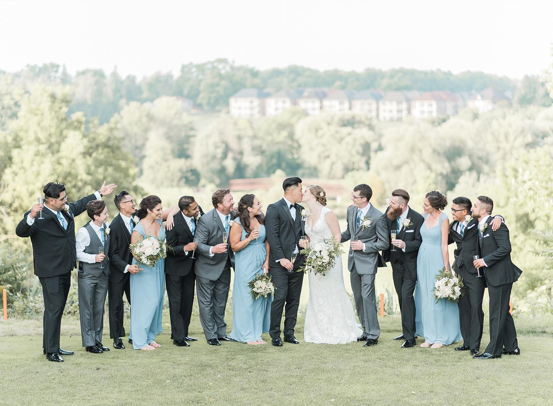large bridal party having fun