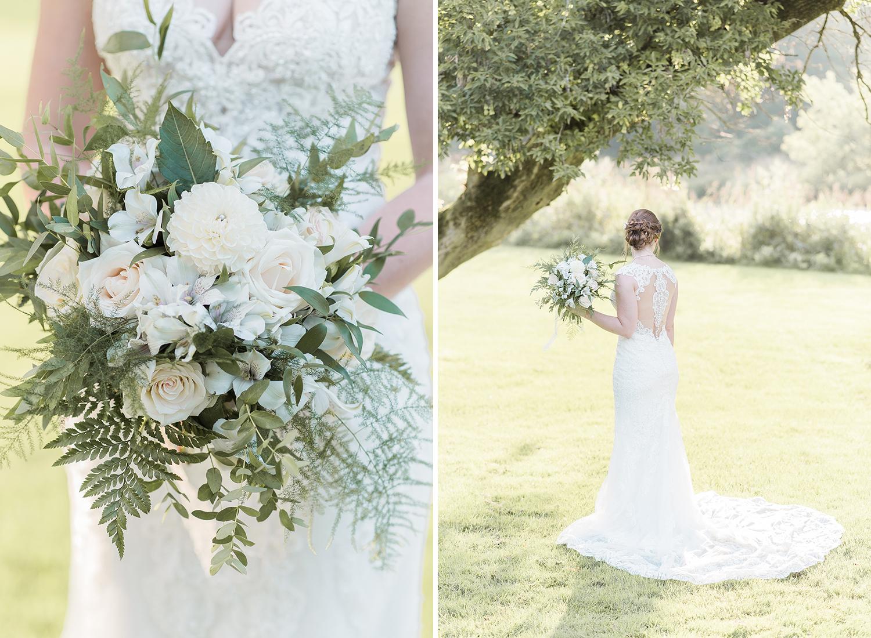 bridal bouquet and dress details