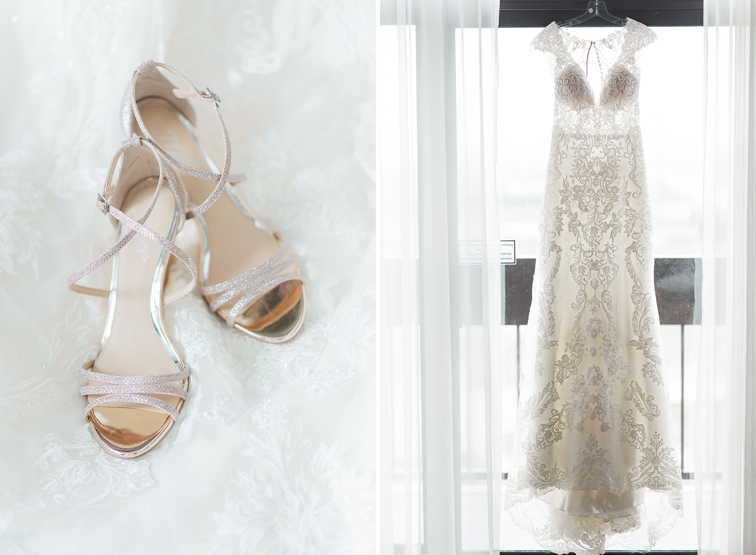 bride getting ready with dress and badgley mishka shoes