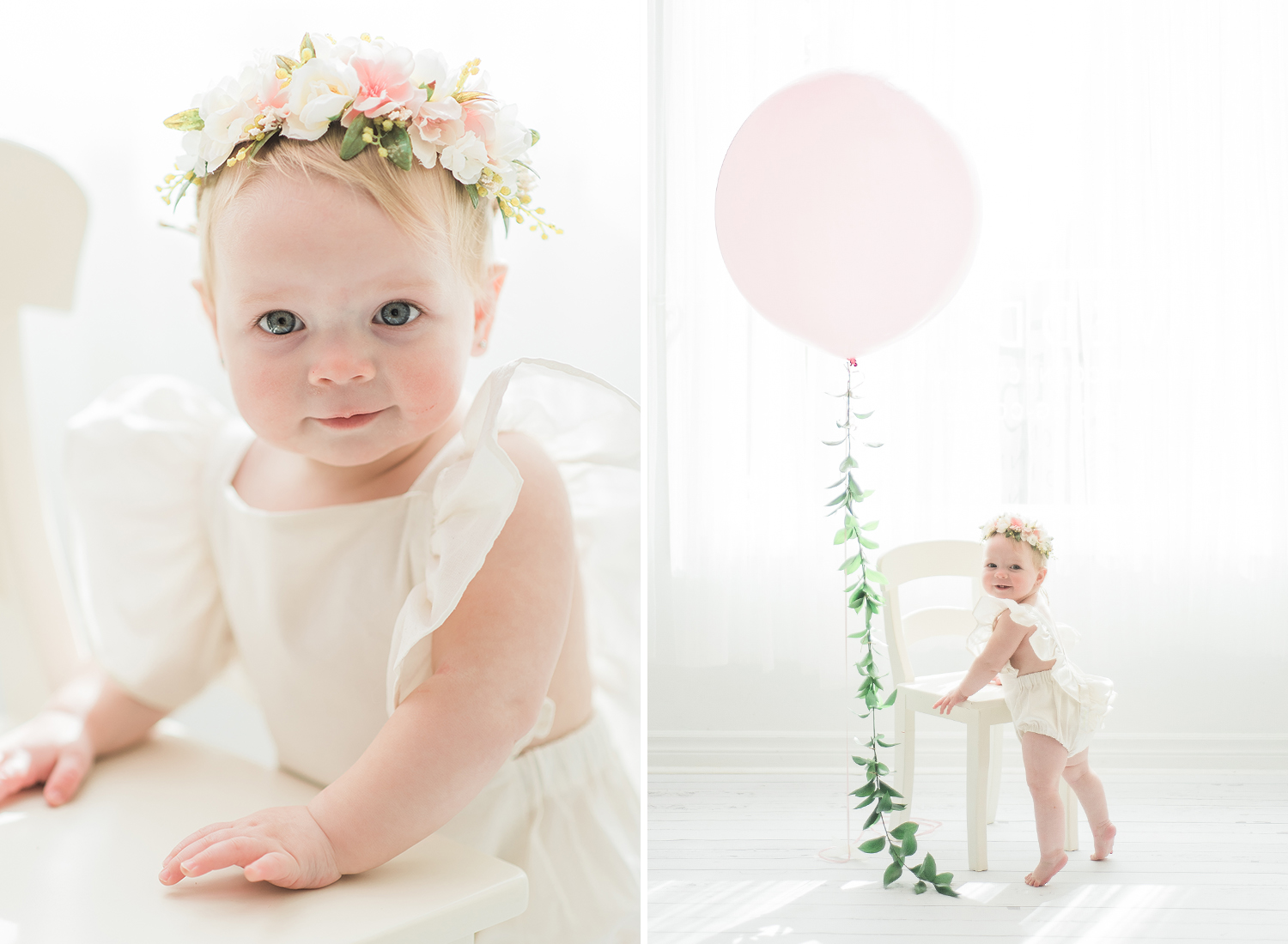 boho baby first birthday cake smash session