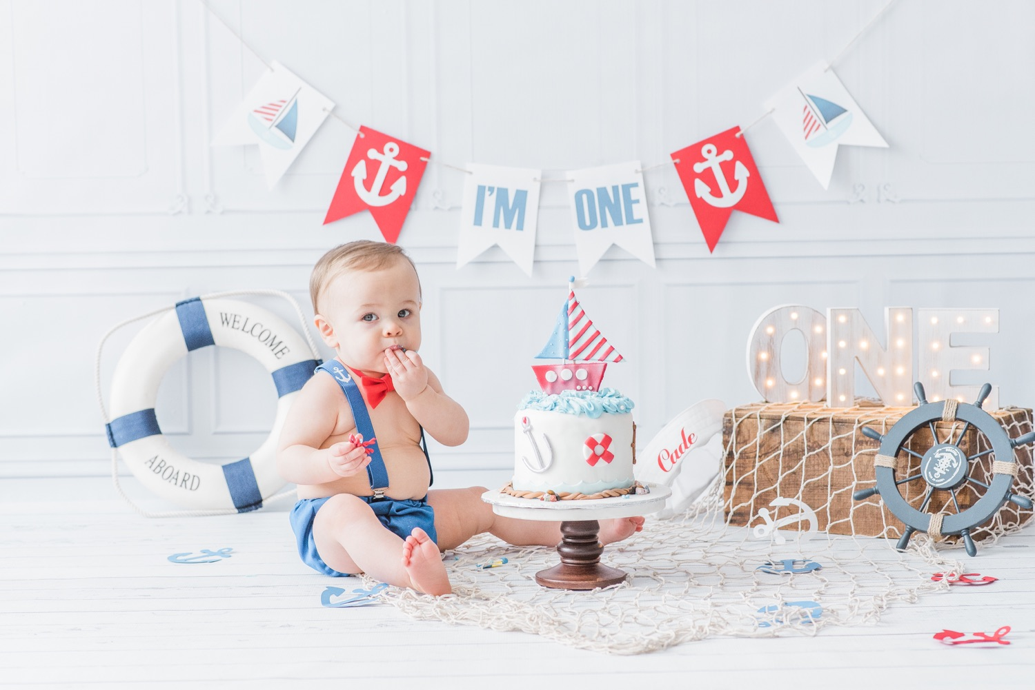 nautical first birthday cake smash and bath splash session by pure aperture